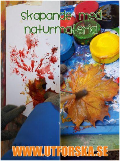 Skapande med naturen. Avtryck löv.