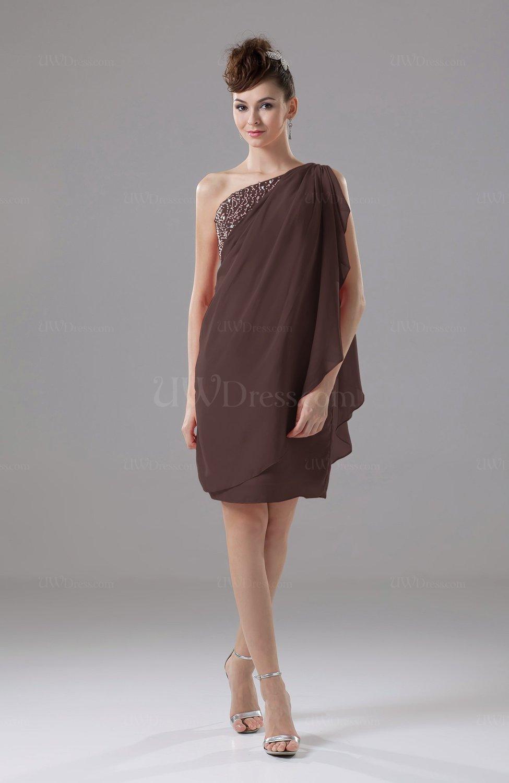 Chocolate Brown Cute Sheath Sleeveless Backless Knee