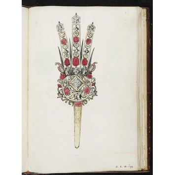 Sketchbook - Designs for jewellery by Arnold Lulls; Design for an aigrette with three plumes