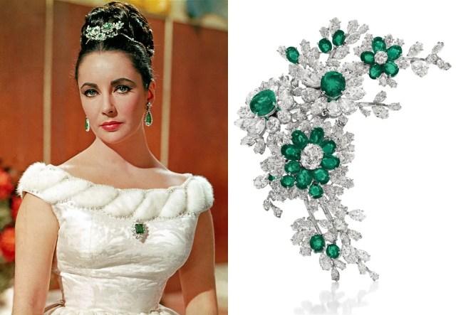 An emerald-and-diamond flower brooch, by Bulgari, 1960, gift from Richard Burton