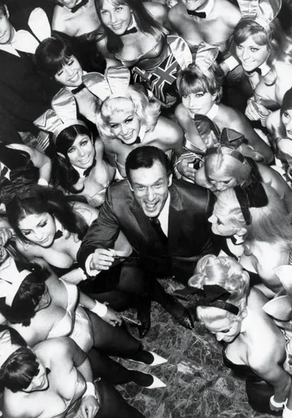 """Hefner promoting the London Playboy Club, 1966. As he wrote in one of his many scrapbooks, """"What does it feel like, being a living legend? Well, it feels just great!"""" *From Getty Images.*"""