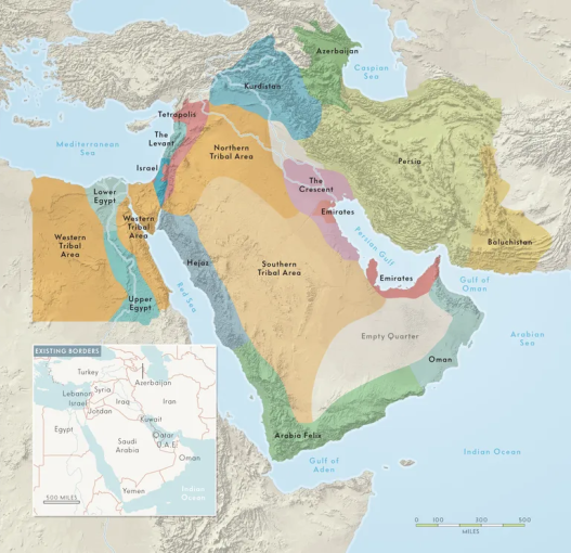 Charting    the 17 Nations of the Middle East      Vanity Fair middle east map 0108 png