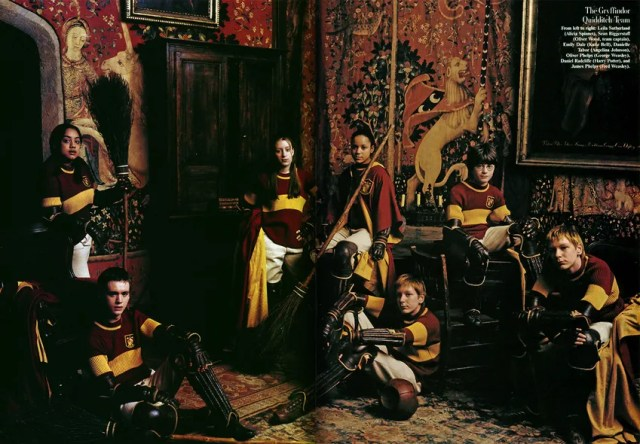 __The Gryffindor Quidditch Team__   From left to right: Leila Sutherland (Alicia Spinnet), Sean Biggerstaff (Oliver Wood, team captain), Emily Dale (Katie Bell), Danielle Tabor (Angelina Johnson), Oliver Phelps (George Weasley), Daniel Radcliffe (Harry Potter), and James Phelps (Fred Weasley).
