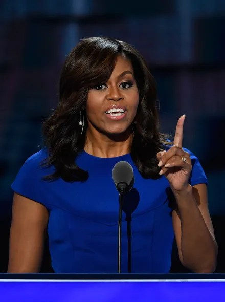 Michelle Obama at opening night of DNC in blue dress.