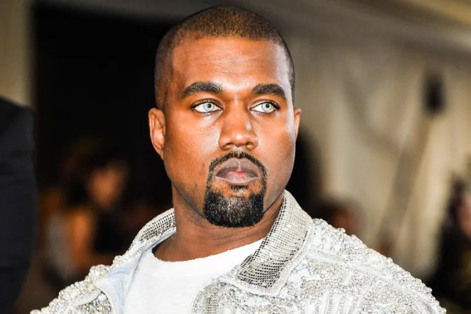 Kanye West wears colored contacts to the 2016 Met Gala in New York.