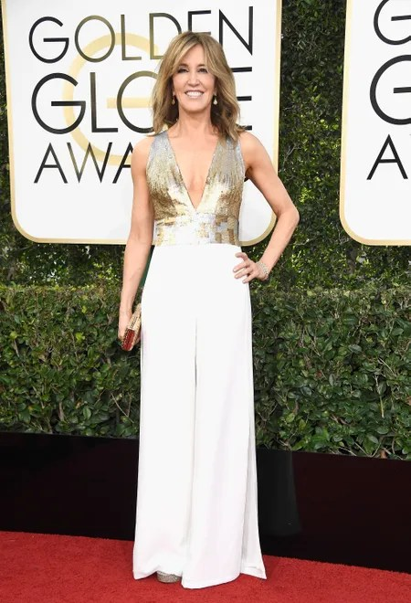 You can't really tell in this photo, but those are pants. And Felicity gave a simple explanation as to why she skipped a gown this year, and it's why she deserves a spot on the best dressed list (it's also v pretty).