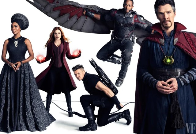 Angela Bassett as Ramonda, Elizabeth Olsen as Scarlet Witch, Jeremy Renner as Hawkeye, Anthony Mackie as Falcon, and Benedict Cumberbatch as Doctor Strange.