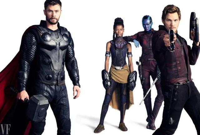 Chris Hemsworth as Thor, Letitia Wright as Shuri, Karen Gillan as Nebula, and Chris Pratt as Star-Lord.