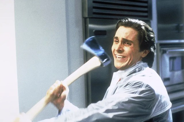 Christian Bale stars in *American Psycho*