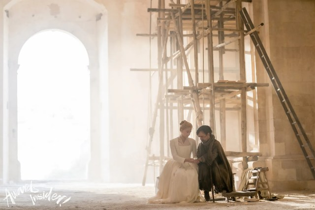 Haley Bennett and Peter Dinklage in Cyrano.