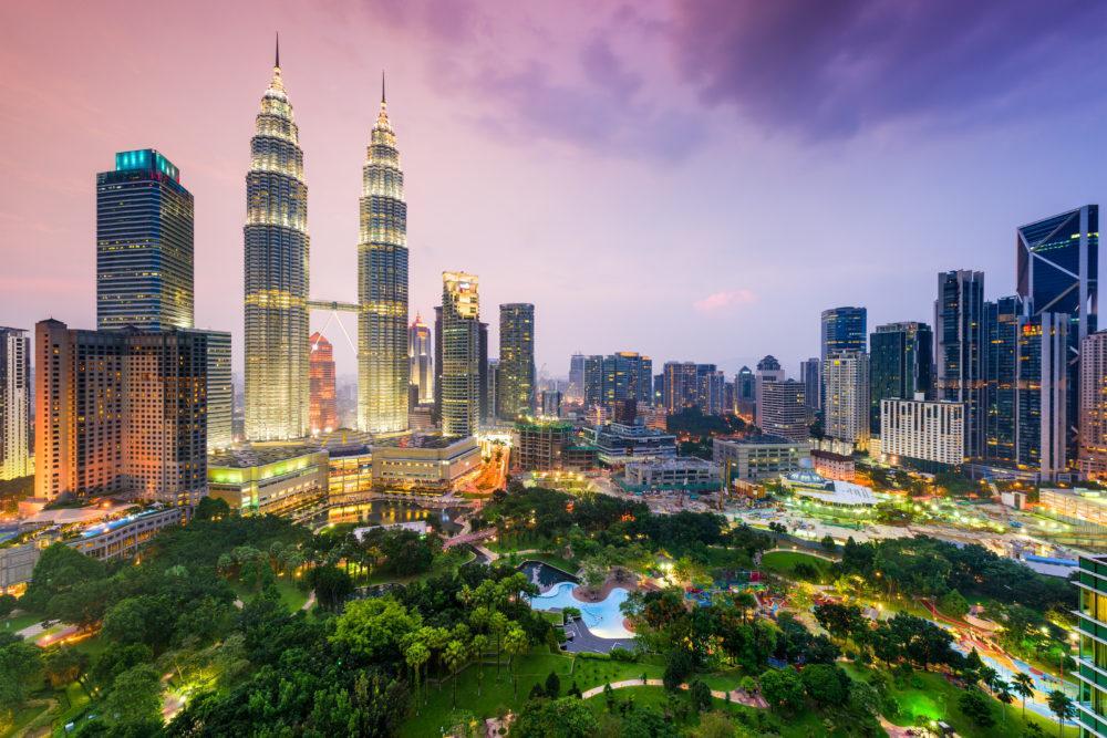 stadssiluetten i Kuala Lumpur, storstäder i Malaysia