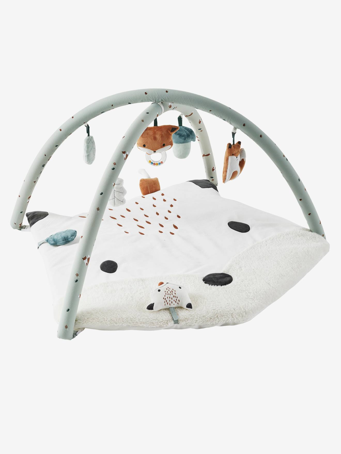 tapis d eveil avec arche renard vert gris