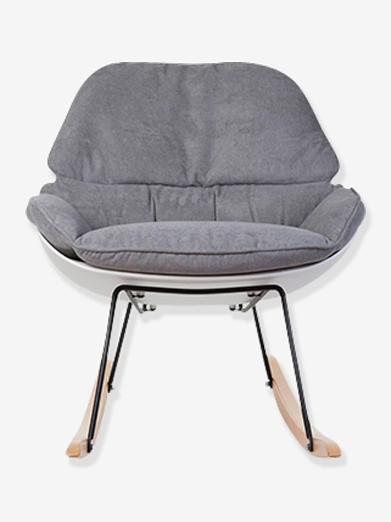 fauteuil a bascule childhome rocking chaise lounge blanc gris