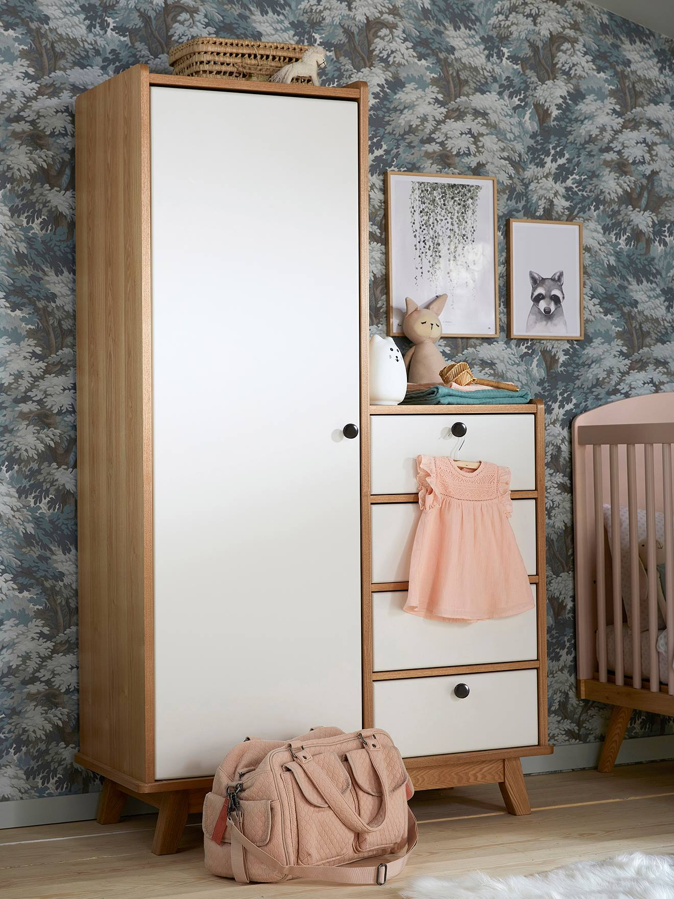 armoire vintage blanc bois