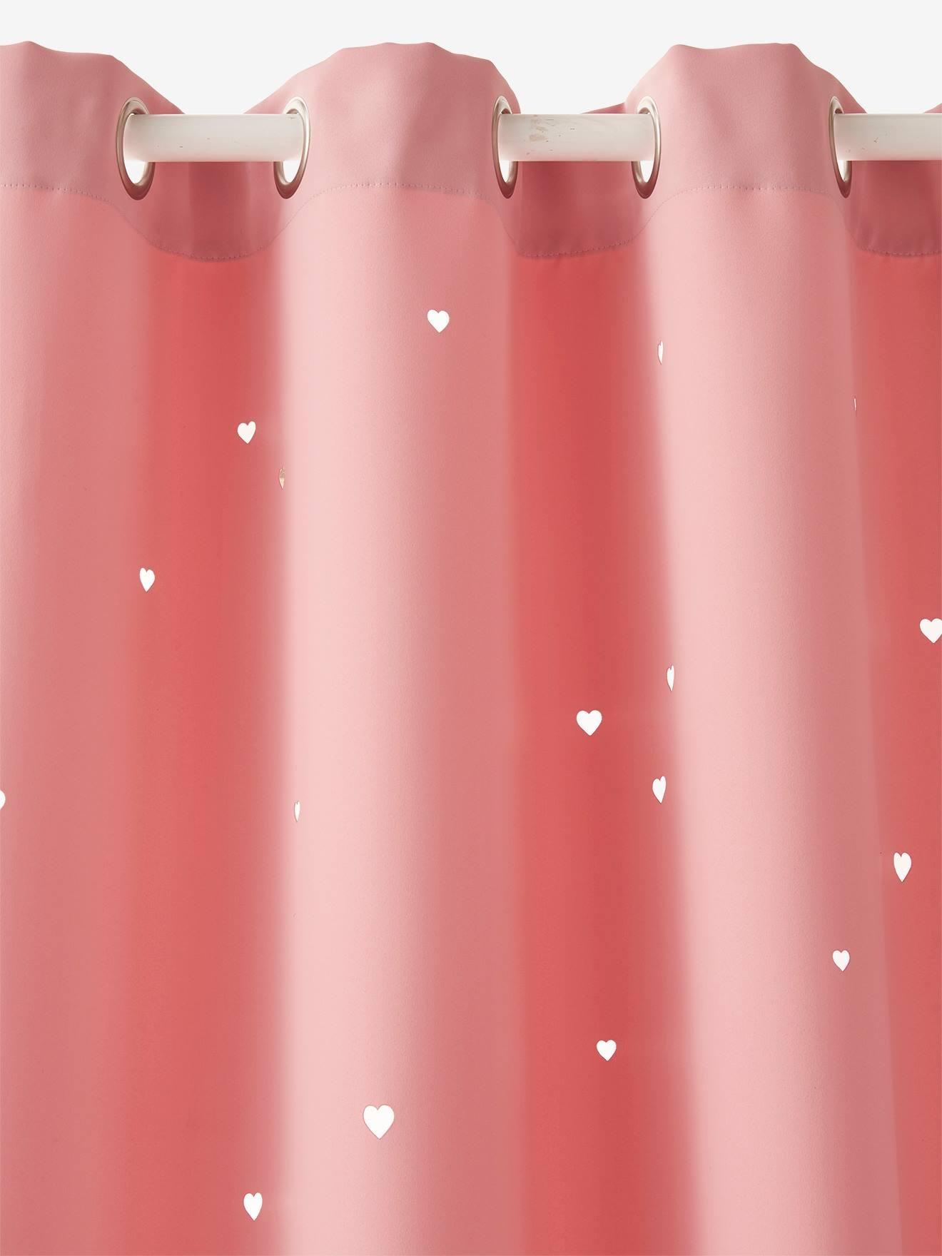 rideau assombrissant rose coeurs