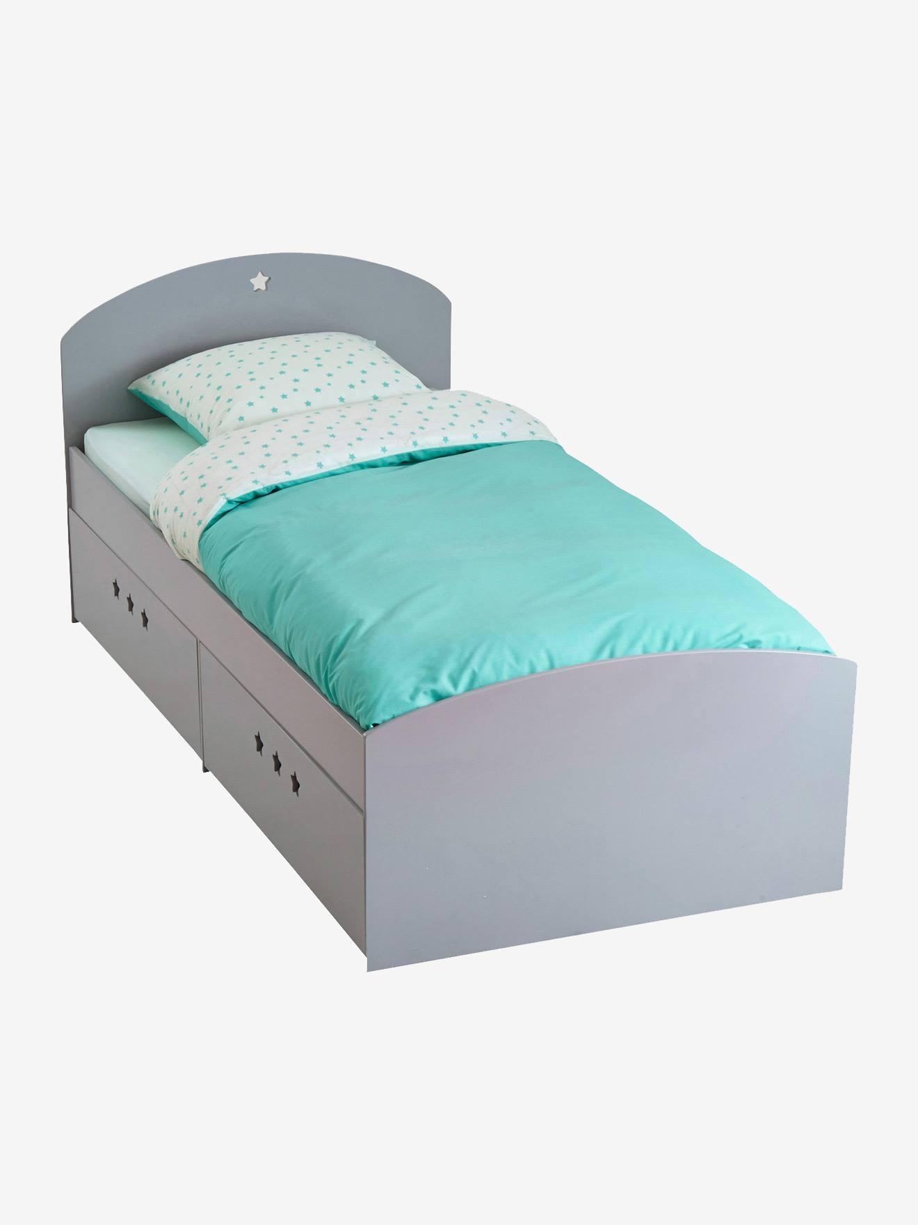 lit fixe enfant avec tiroirs ligne sirius gris