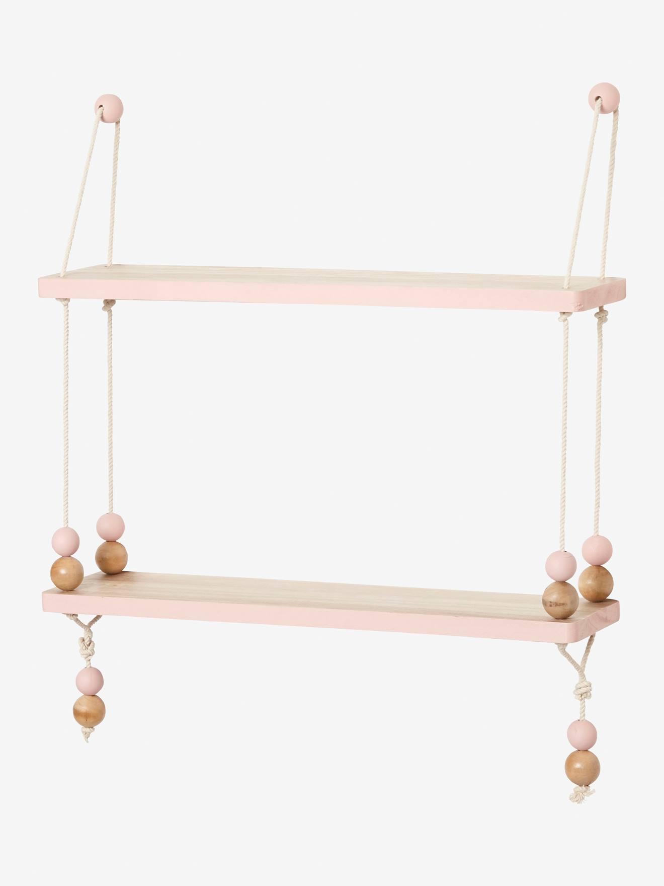etagere balancoire bois et corde macaron bois