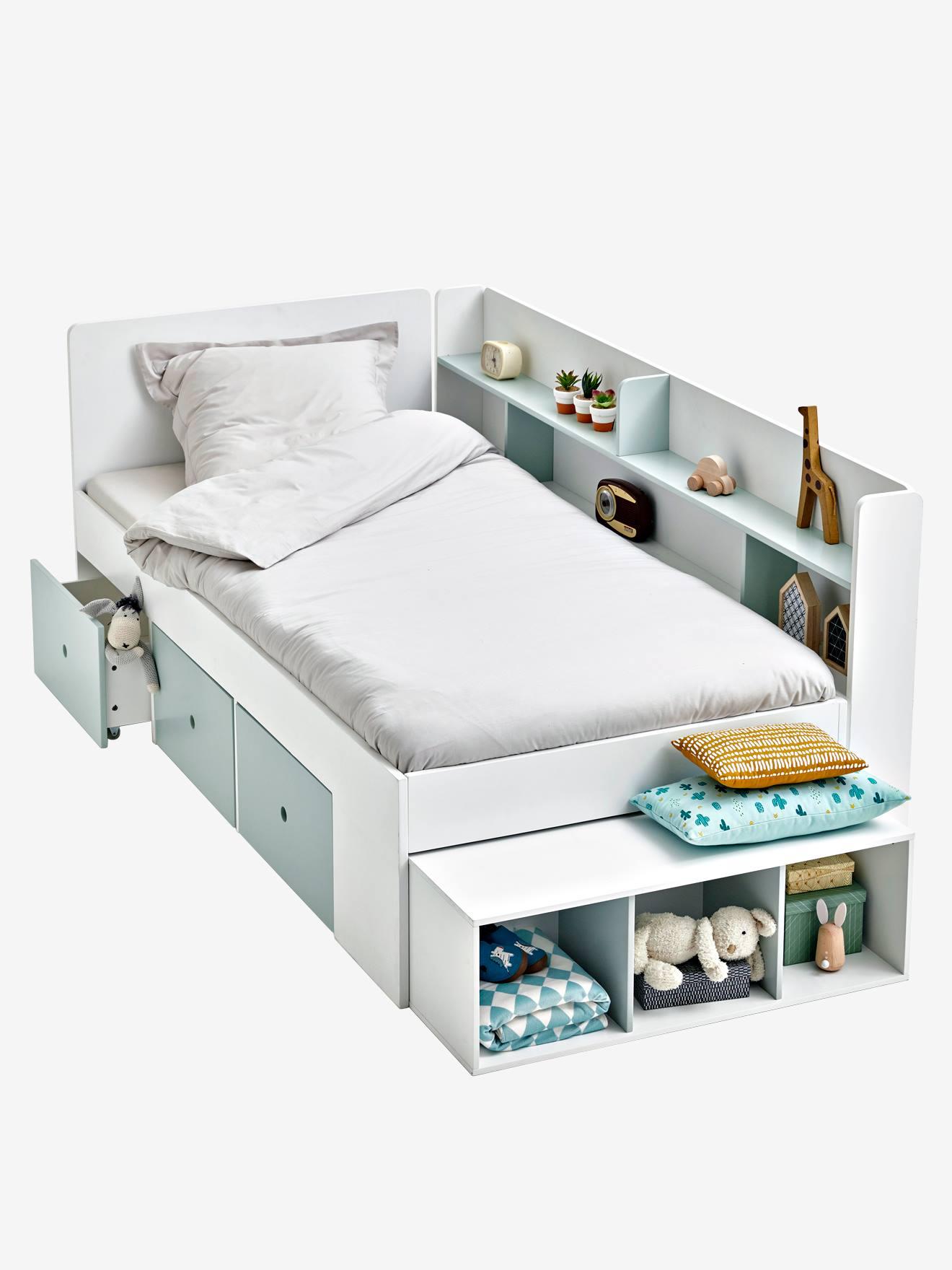 lit plateforme enfant avec rangements baseo blanc gris clair 1 vertbaudet enfant
