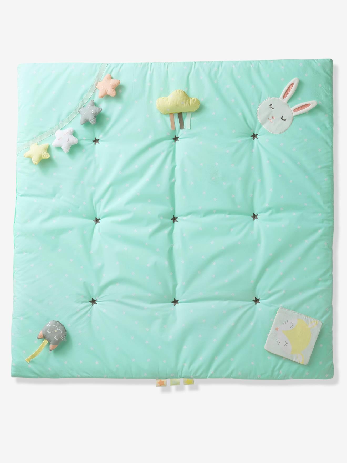 tapis d eveil souple funny baby vert d eau imprime
