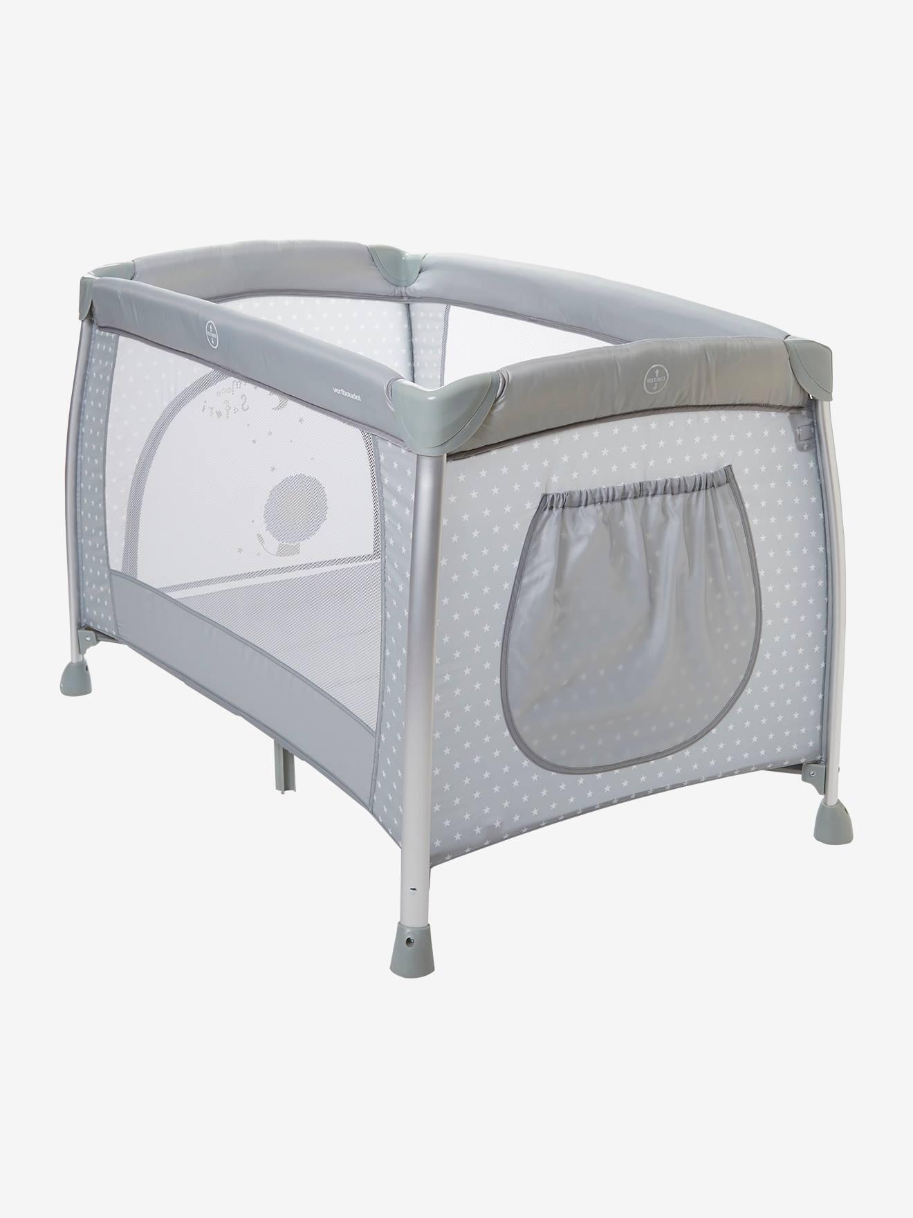 lit parapluie pliable mobi bed vertbaudet gris