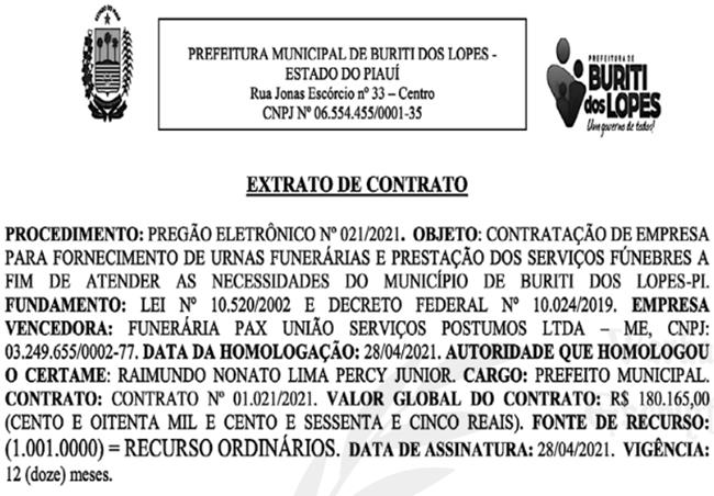 Contrato firmado pela Prefeitura de Buriti dos Lopes.