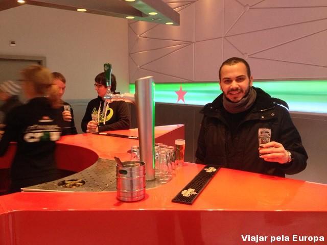 Iago Rodrigues na Fábrica da Heineken, Amsterdam.