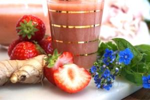 Sommarsmoothie med jordgubb och apelsin