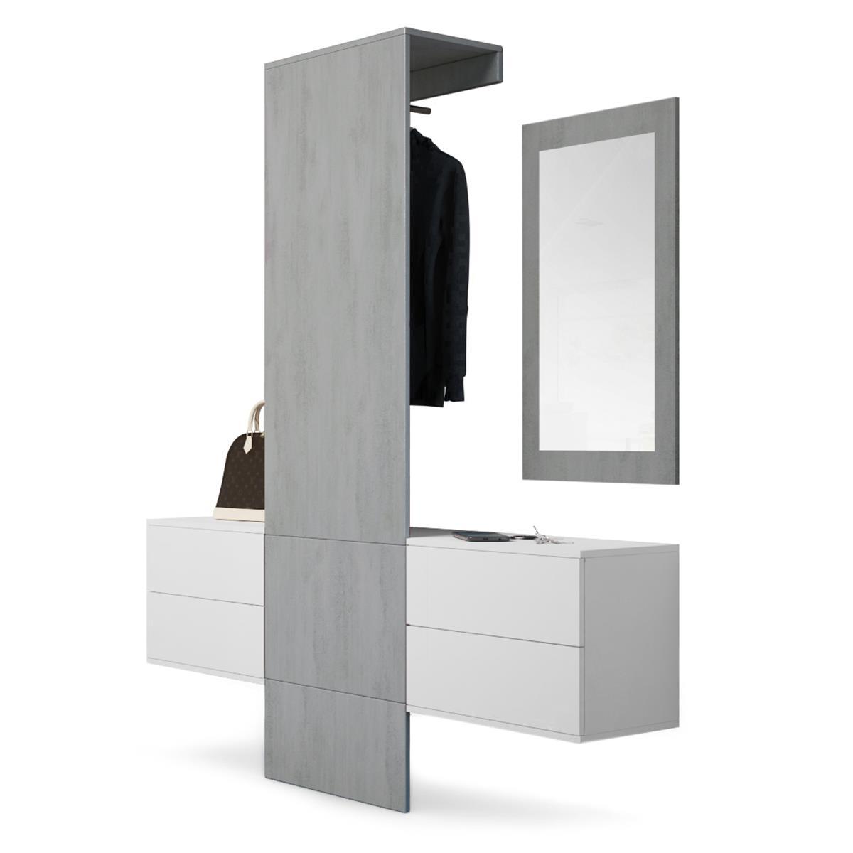 garderobe carlton set 3 beton oxid spiegel beton