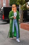 hailey baldwin wears jeans straight light-colored