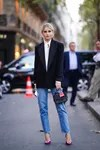 straight jeans with blazer-black street style