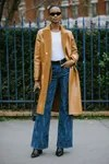 cuffed jeans with a coat