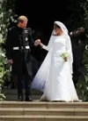 meghan markle wears wedding dress