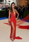 Joan Smalls with red dress