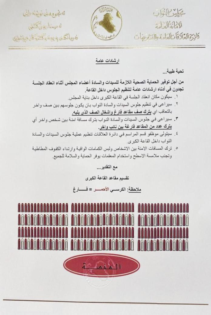 Distribution of seats in the session of granting confidence in the Iraqi parliament