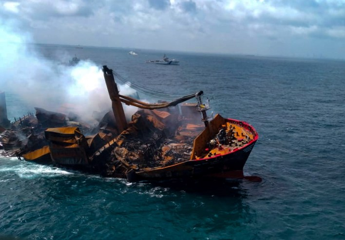 Smoke rises from a fire onboard the MV X-Press Pearl vessel as it sinks while being towed into deep sea off the Colombo Harbour…