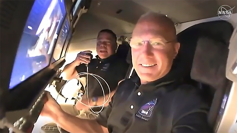 US Astronauts Dock SpaceX Capsuleat International Space Station
