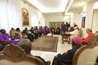 Pope Francis attends a meeting at the end of a two day Spiritual retreat with South Sudan leaders at the Vatican, April 11, 2019.