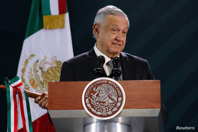 Mexico's President Andres Manuel Lopez Obrador holds his daily news conference in Oaxaca, Mexico October 18, 2019. REUTERS