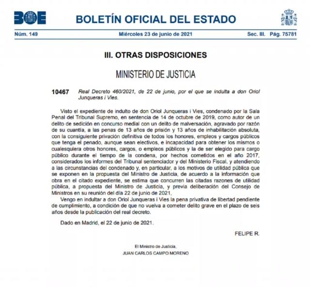 BOE con la publicación de los indultos a los líderes del 'procés'.