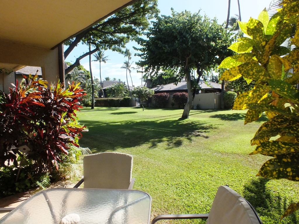 View from the lanai of gardens and the pool area.