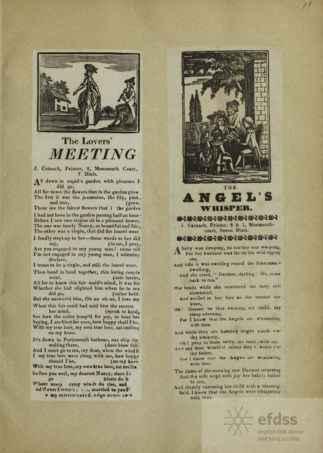The Lovers' Meeting - broadside ballad  from the Frank Kidson Manuscript Collection, via the EFDSS Full English archive.