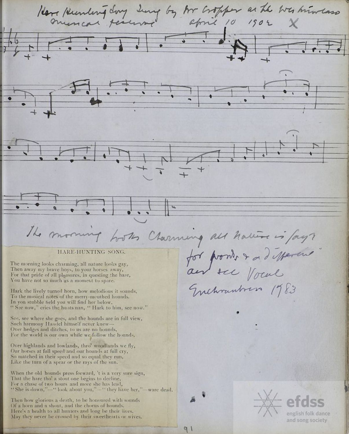 Hare Hunting Song, from the Kidson MSS, via the Full English archive.