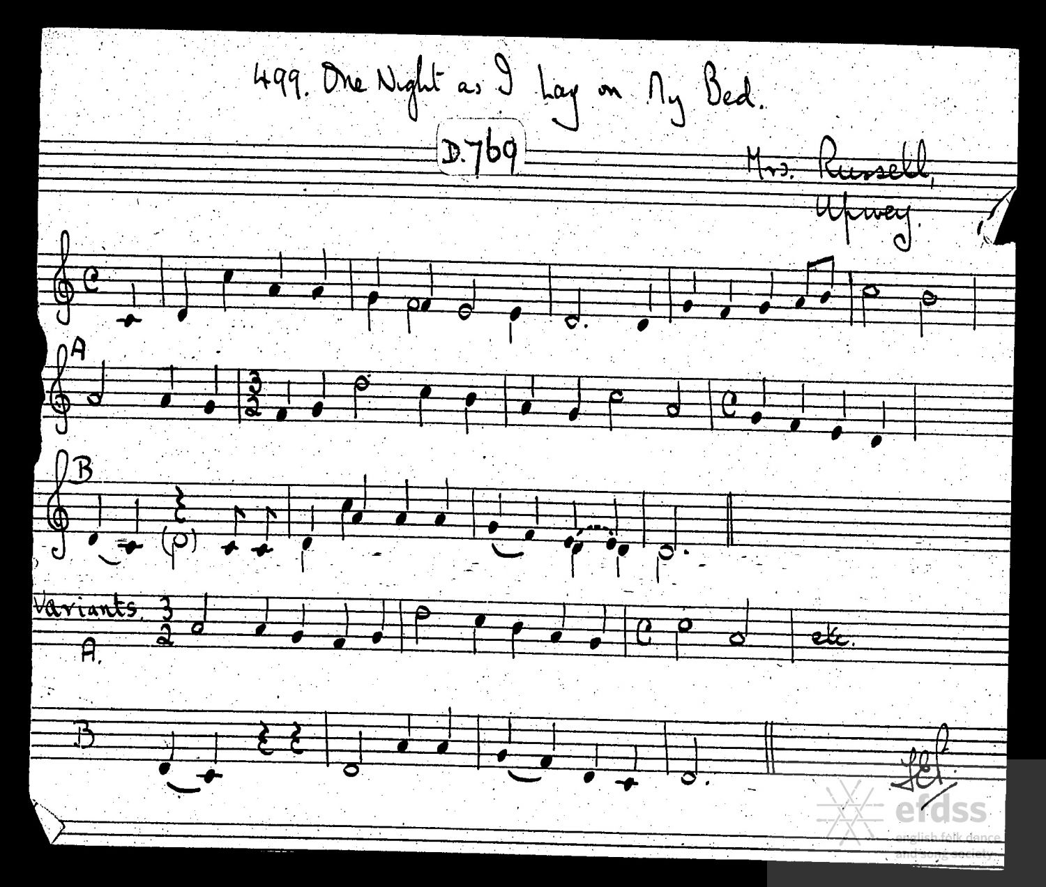 One Night As I Lay On My Bed, as sung by Marina Russell. From the Henry Hammond Manuscript Collection via the Full English.