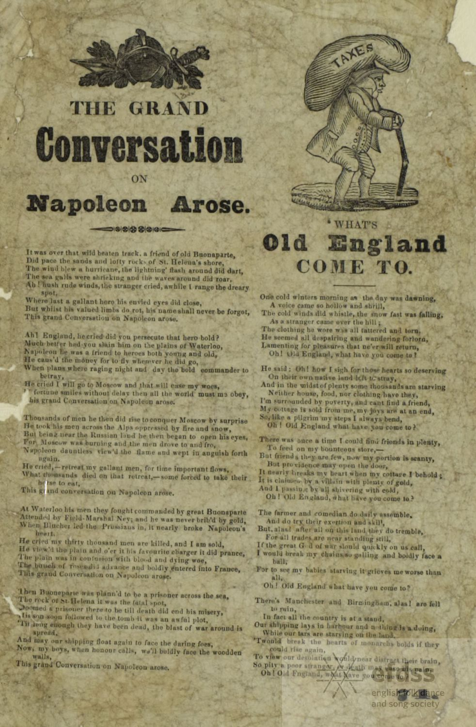 The Grand Conversation on Napoleon Arose - broadside from Ralph Vaughan Williams Manuscript Collection, via the Full English.