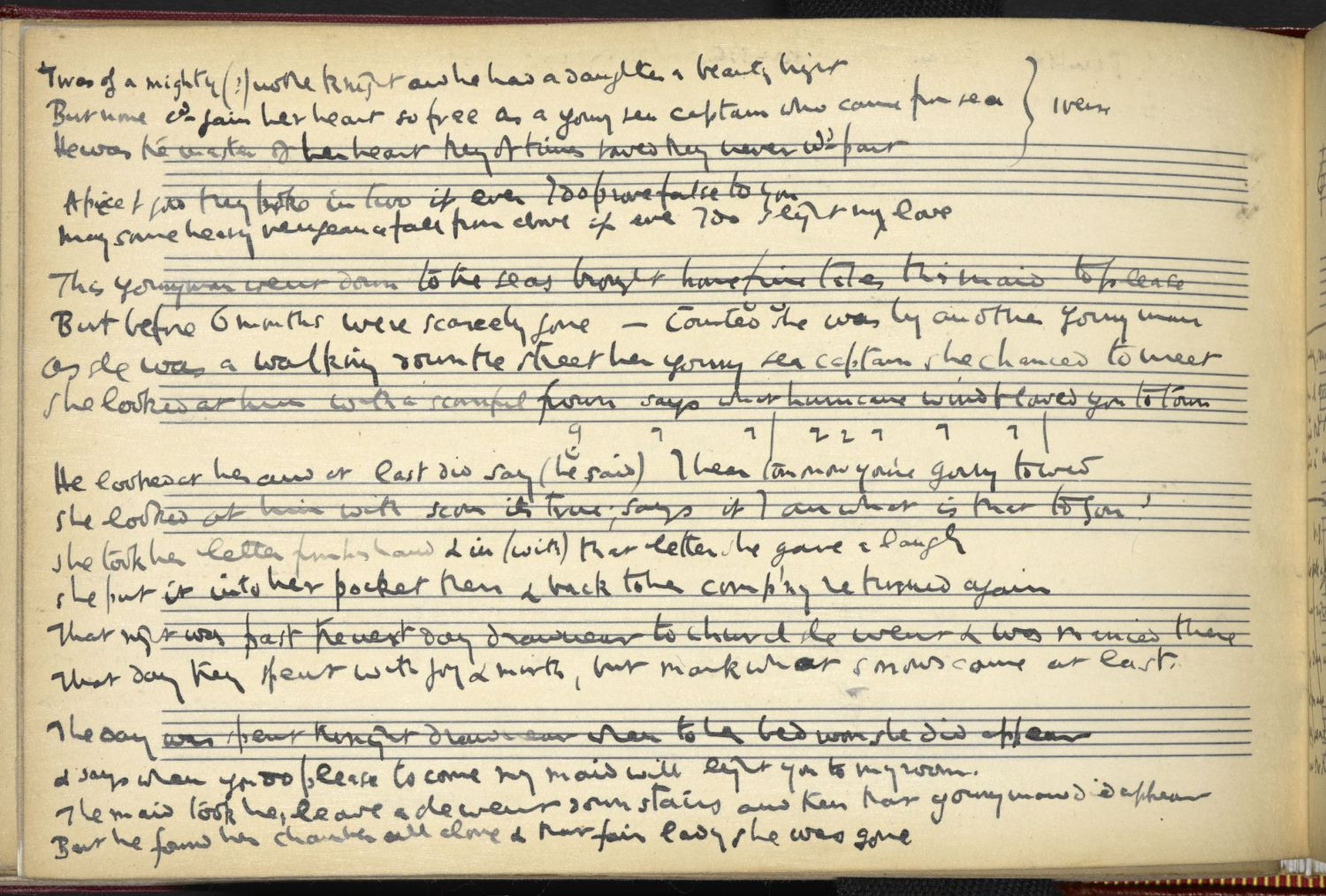 Hurricane Wind, page 1. From Ralph Vaughan Williams' notebook, via the Full English.