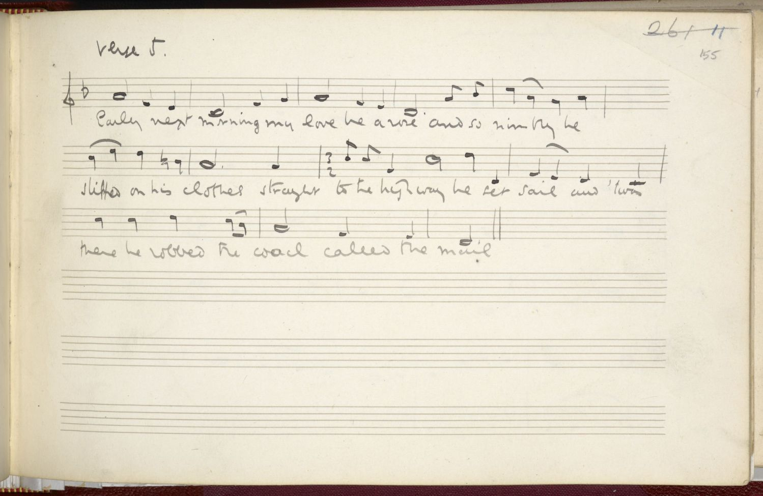 Salisbury Plain, verse 5, collected by Vaughan Williams from Mr and Mrs Verrall. Image copyright EFDSS.