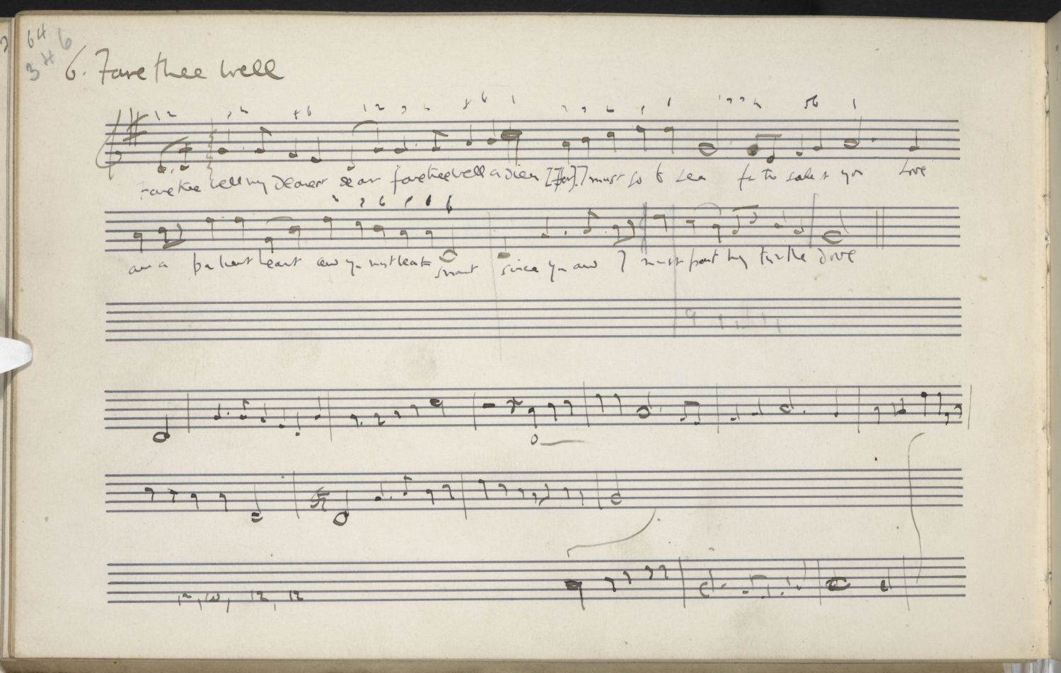 Fare thee well my dearest dear, noted by Vaughan Williams from Harriett Verrall, Horsham, Sussex, 22 Dec 1904; image copyright EFDSS.