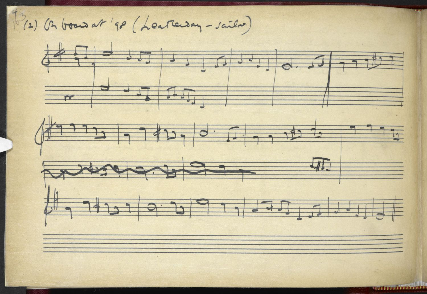 On Board A '98, collected by Vaughan Williams from Mr Leatherday, 1905. From the Full English archive.