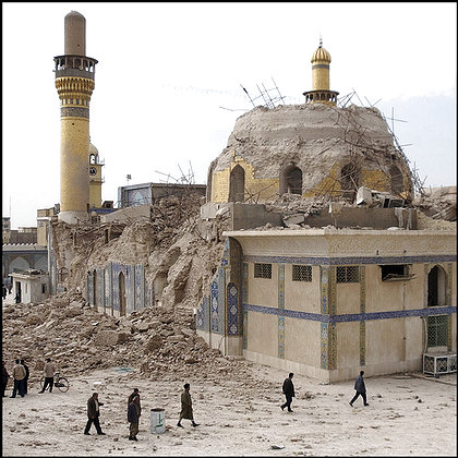 The Askariya shrine in Samarra, one of the most revered Shiite sites in Iraq, after yesterday's bombing.