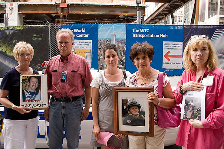 These are parents and spouses of firefighters killed on 9/11. The rally took place just a minute's walk from Ladder 10 Firehouse, where their loved ones were stationed for duty that terrible day. Ladder 10 lost seven firefighters.